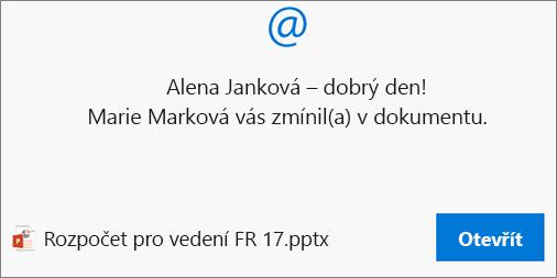 Zmínky v komentářích odesílají příjemci e-mail s odkazem.