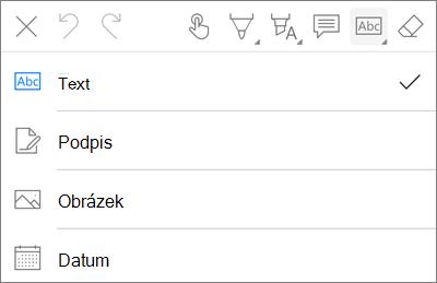 OneDrive pro iOS nabídky Text značky PDF