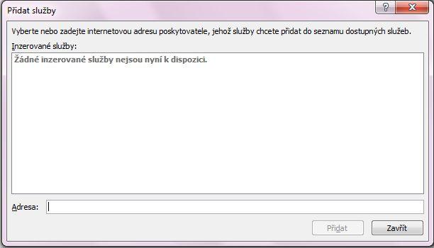 Snímek obrazovky s polem Přidat služby, které je součástí dialogového okna Možnosti zdrojů informací