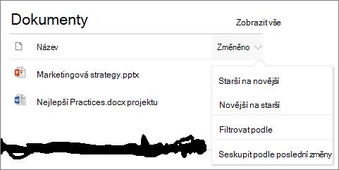 Webové části zobrazení řazení, filtru a skupiny nabídky knihovny dokumentů