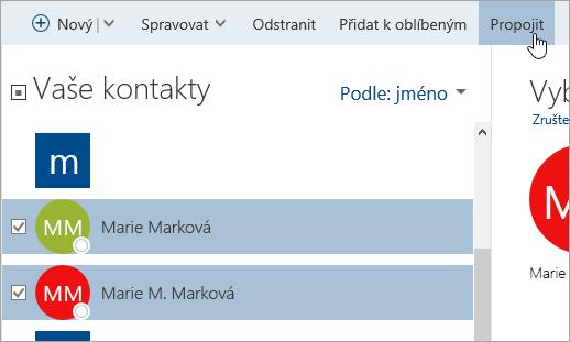 Snímek obrazovky s tlačítkem pro propojení na stránce Lidé