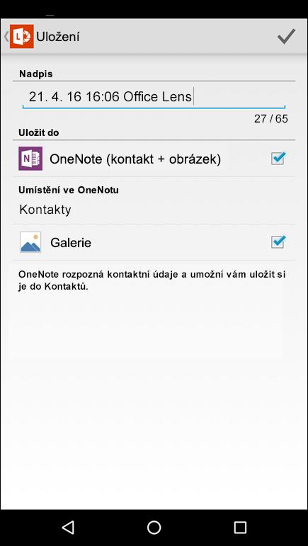 Snímek obrazovky funkce exportu do kontaktů v Office Lens pro Android