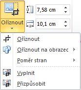 Seznam zobrazený po kliknutí na tlačítko Oříznout