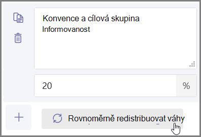 """Kliknutím na tlačítko """"rovnoměrně distribuovat váhy"""" můžete automaticky přiřadit procenta a body."""