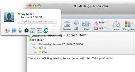 Rychlá zpráva spuštěná z Outlooku