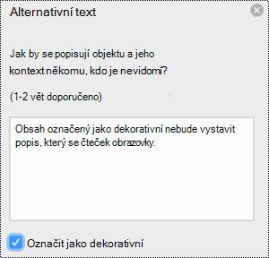 Možnost označit jako ozdobné zaškrtávací políčko v podokně alternativní text v Excelu pro Mac