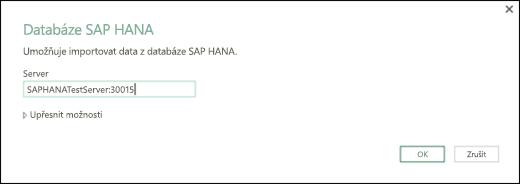 Dialogové okno databáze HANA SAP
