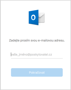 První obrazovka se zadáním e-mailové adresy