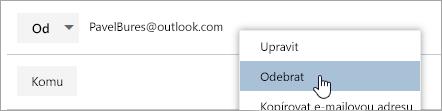 Snímek obrazovky s možností odebrat