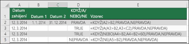 Příklady používání funkce KDYŽ s funkcemi A, NEBO a NE k vyhodnocení dat