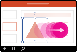 Gesto přesunutí tvaru v PowerPointu pro Windows Mobile