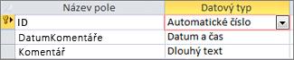 Primární klíč typu Automatické číslo označený jako ID v návrhovém zobrazení tabulky Accessu