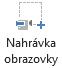 Tlačítko nahrávání obrazovky na kartě záznam v PowerPointu 2016