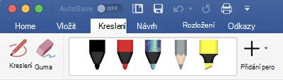 Pera a zvýrazňovače na kartě kreslení v Office 365 pro Mac