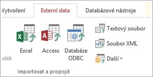 Přístup k kartě externí data