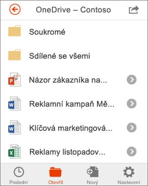 Sdílení souborů v Office Mobile