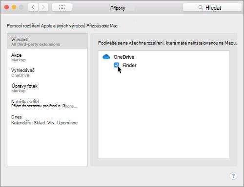 Snímek obrazovky Rozšíření v předvolbách systému na Macu