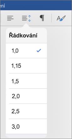 Se zobrazí řádek možnosti řádkování ve Wordu pro iPad.