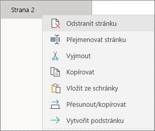 Odebrání stránky ve OneNotu pro Windows 10