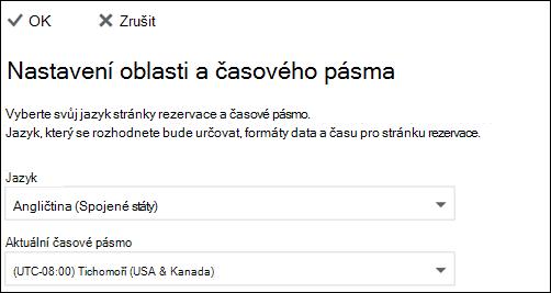 Snímek obrazovky: Vyberte svůj jazyk a aktuální časové pásmo