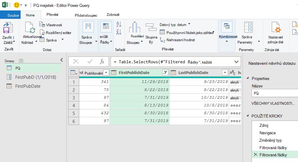 Editor Power Query zobrazující filtrované výsledky