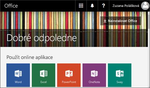 Snímek obrazovky s domovskou stránkou a tlačítkem pro instalaci Office