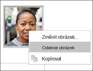 Můžete změnit nebo odebrat obrázek kontaktu.