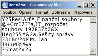 Seznam hesel v souboru Poznámkového bloku
