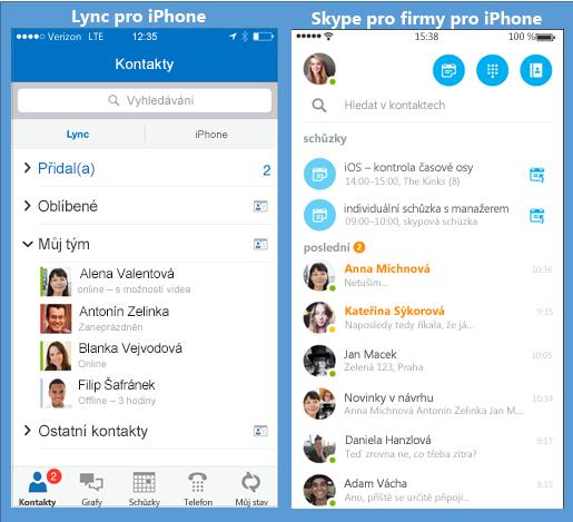 Snímky obrazovek Lyncu a Skypu pro firmy zobrazené vedle sebe