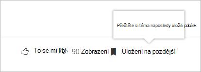 Kliknutím zobrazíte panel naposledy uložených položek.