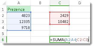 Použití funkce SUMA se dvěma oblastmi buněk