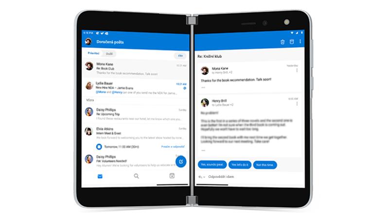 Outlook otevřený na Surface Duo