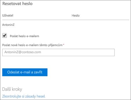 Snímek obrazovky: Odesílání obnovit e-mailové oznámení heslo uživatele