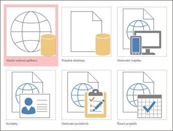 Zobrazení šablon na úvodní obrazovce v Accessu