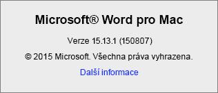 Snímek obrazovky znázorňující stránku O aplikaci Word ve Wordu pro Mac