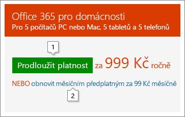 Snímek obrazovky s možnostmi prodloužení na stránce Office.com/renew Obrázek představuje jenom příklad; ceny se můžou změnit.