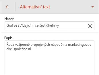 Příkaz Alternativní text na kartě SmartArt