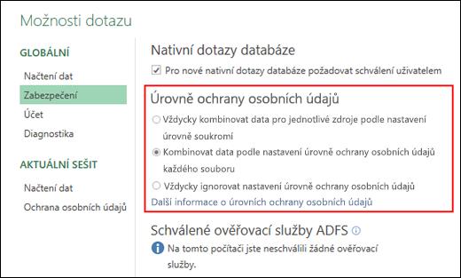 Power Query – Nastavení zákazu výzev úrovně ochrany osobních údajů na úrovni počítače (včetně klíče registru)