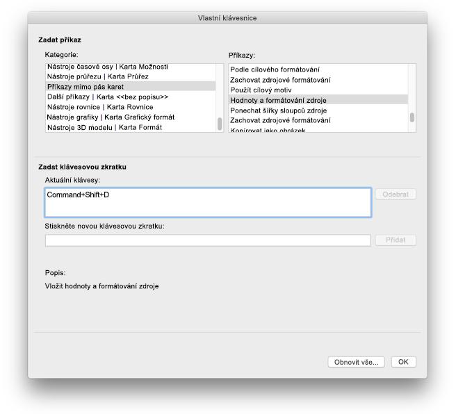 Přizpůsobení klávesových zkratek v Excelu pro Mac