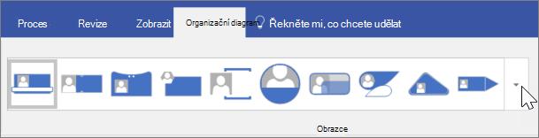 Snímek obrazovky s panelem nástrojů organizační diagram