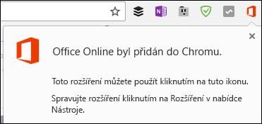 Chrome vás upozorní úspěšném přidání rozšíření Office Online