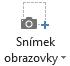 Tlačítko kopie obrazovky na kartě záznam v PowerPointu 2016