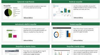 6 obrázků šablon s podporou přístupnosti pro rozpočet