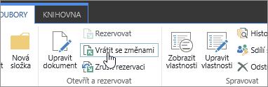 Tlačítko pro vrácení dokumentu se změnami a popis