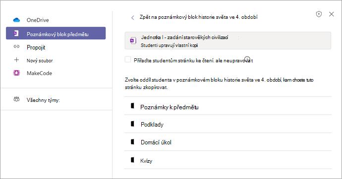 Přiřazení stránky jako zadání v Teams pomocí Onenotového poznámkového bloku předmětu