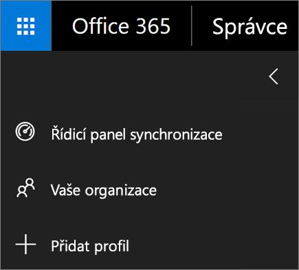 Snímek obrazovky přidání profilu možnosti v nabídce synchronizace dat škole.