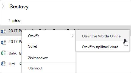 Otevřít soubor ve Wordu Online na Onedrivu