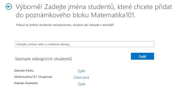 Snímek obrazovky, který ukazuje, jak odebrat studenta