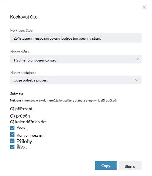 Snímek obrazovky: zobrazení dialogového okna Kopírovat úkol Položky přiřazení, průběh a datum jsou ve výchozím nastavení vypnuté.