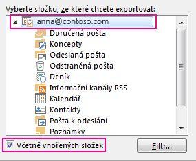Dialogové okno Exportovat datový soubor aplikace Outlook s vybranou horní složkou a zaškrtnutým políčkem Včetně podsložek